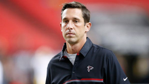 Aug 11, 2016; Atlanta, GA, USA; Atlanta Falcons offensive coordinator Kyle Shanahan before a game against the Washington Redskins at the Georgia Dome. Mandatory Credit: Brett Davis-USA TODAY Sports
