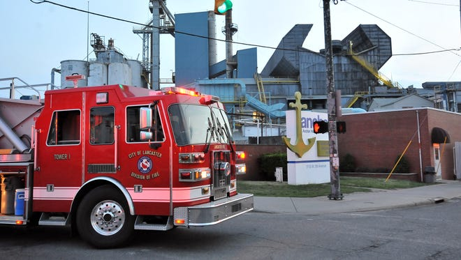 Lancaster firefighters responded to a report of a fire at the Anchor Hocking plant Friday night, May 14, 2015, on Pierce Avenue. Firefighters were called to the plant at 8:04 p.m., Lancaster Fire Lt. Bob Shick said there was smoke coming from the clam shell of the glass production facility when crews arrived at the scene. Shick said firefighters entered the building and quickly extinguished the fire. A cause for the fire wasn't readily available, but Shick added that a fire investigator had been called to the scene. He said the building was not evacuated and there were no injures reported. Firefighters were called to the plant twice last year, once in January and again in July, when hold tanks ruptured causing production to come to a halt. It wasn't known at press time the extent of damage to the plant from this fire or what effect it would have on the facility's production schedule. Anchor Hocking is the second largest private employer in the county.