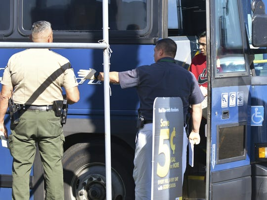 Greyhound passengers are allowed to get off the bus