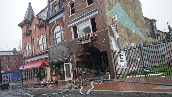 Investigation of a fire that broke out Sunday after on the 400 block of North Market Street has the block taped off Monday morning.
