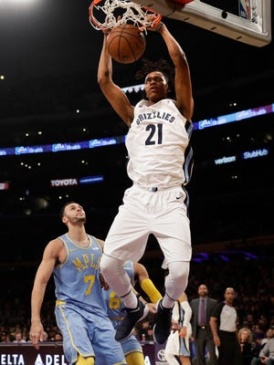 Grizzlies center Deyonta Davis dunks over the Lakers' Larry Nance Jr. earlier this season.