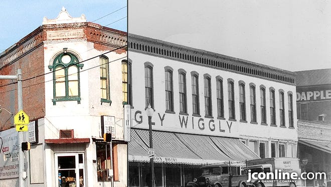 The E.M. Weaver building at the Five Points intersection in Lafayette, circa 1937, compared to 2014.