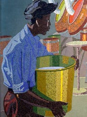Detail from artist Winold Reiss' mosaic mural of a workers the William S. Merrell, which currently hangs in the main terminal at the Cincinnati/Northern Kentucky International Airport.