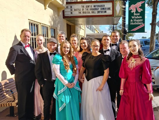 """Florida Arts and Dance Company performers from """"The Nutcracker"""" party scene stand outside the Lyric Theatre in Stuart. Pictured are, from left, front row: Kaileigh Bates, Gabby Jungkunz, and Samara Shevlin. Middle row: Julian Montes, Kimberleigh Molchanov, Ryan Kosiorek, and James Saxton. Back row: Wendell Cave, Jacqueline Rouse, Matt Saum, Martha Saum, and Chris Hamilton."""