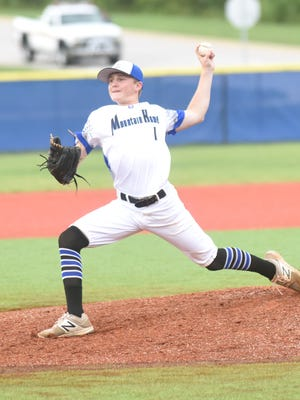 Mountain Home's Isaac House delivers to the plate during the team's 7-0 loss to Five Cities, Calif., Tuesday night in the Babe Ruth World Series at McClain Park.