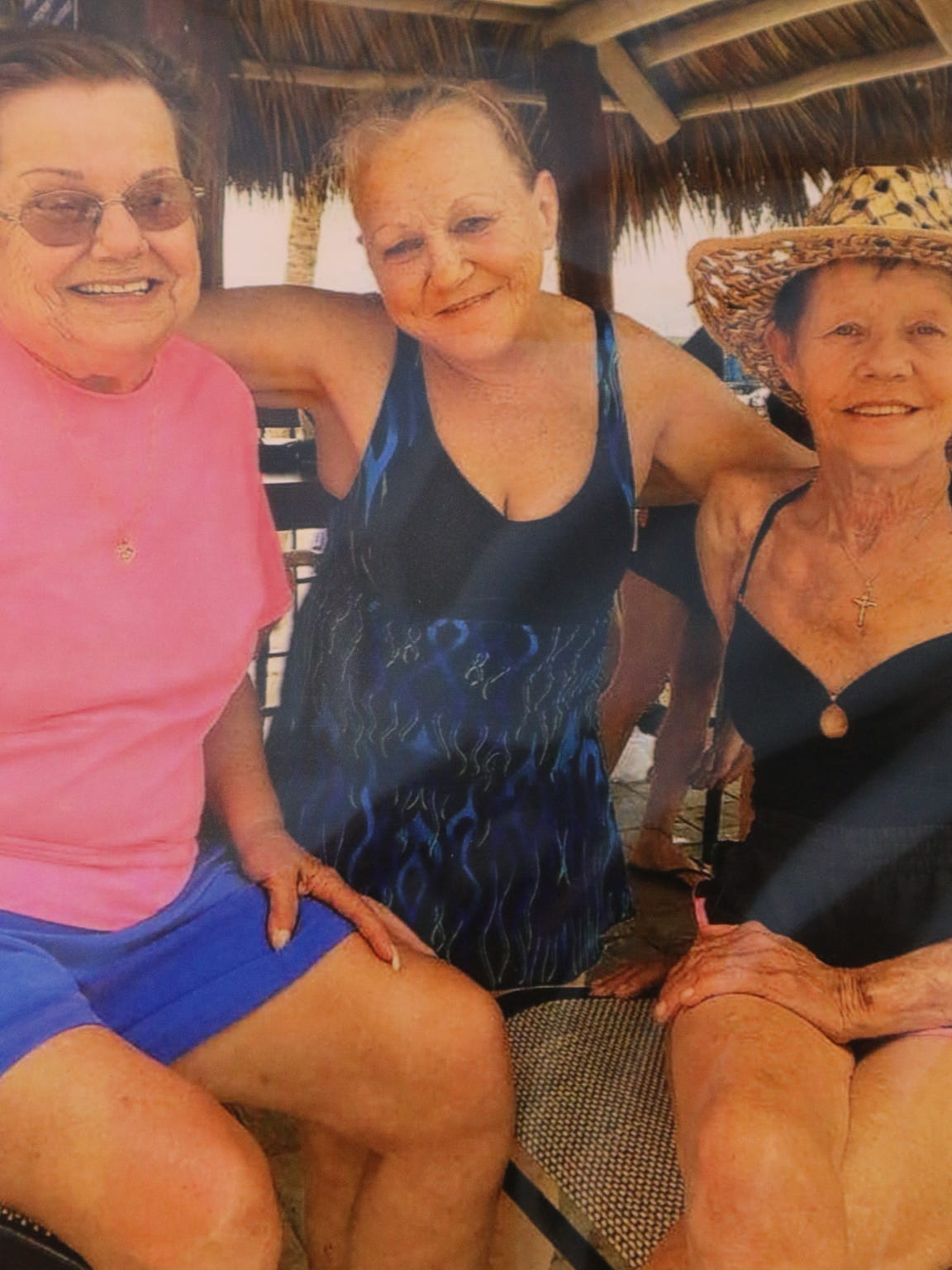 A photo of Barbara, Debbie and Bonnie, the sisters of Jayne Gastineau who has recently found the members of her birth family.