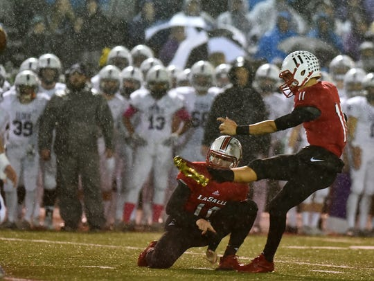 LaSalle's Jake Seibert connects on a field goal to
