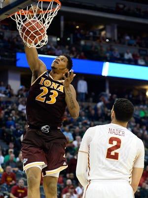 Iona forward Jordan Washington dunks during an NCAA Tournament game last season. Nevada will face the Gaels in 2016-17.
