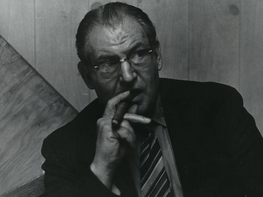 "Ben Waxse, shown with his ever-present cigar, was the ""keeper"" of the overline joke in The Milwaukee Journal's Green Sheet section from 1961 to 1981."