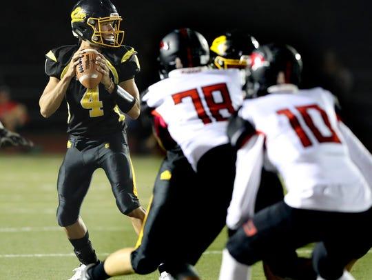 Enterprise quarterback Leslie Cummings drops back to