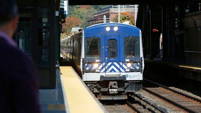 A New York City bound train arrives at the Ossining station, Oct. 21, 2015.