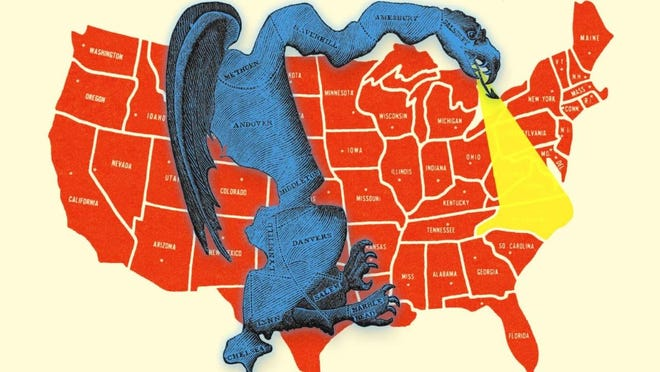 """Printed in March 1812, the """"gerrymander"""" was drawn in reaction to the newly drawn state senate election district of South Essex created by the Massachusetts legislature to favor Gov. Elbridge Gerry's supporters. Critics likened the district shape to a salamander, and the word """"gerrymander"""" entered the political lexicon."""