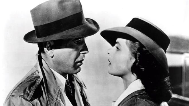 "Humphrey Bogart (as Rick) and Ingrid Bergman (as Ilsa) in ""Casablanca."""