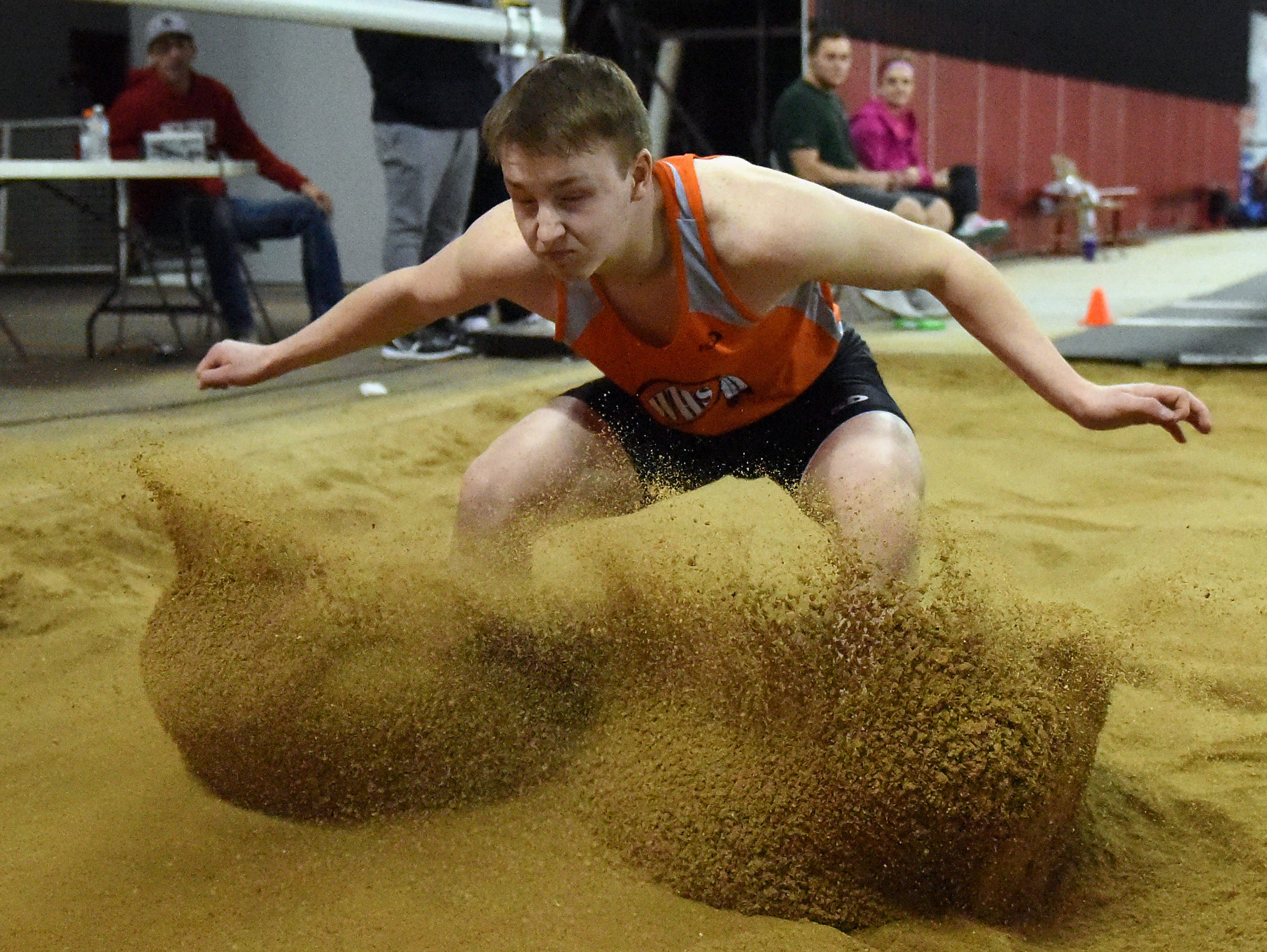 Washington's Nate Freese competes in the boys long jump during the Dan Lennon Invitational at the DakotaDome in Vermillion on Monday, March 28, 2016.