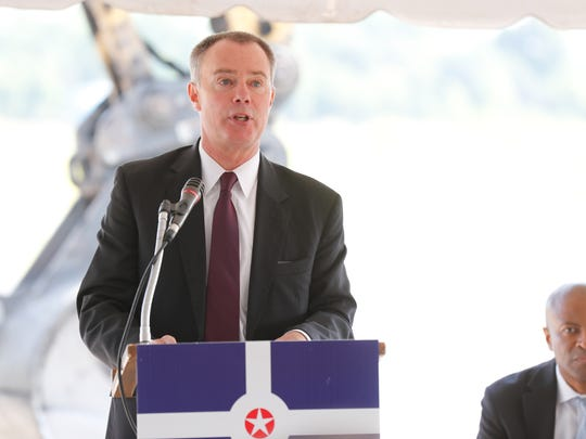 Indianapolis Mayor Joe Hogsett speaks during the groundbreaking
