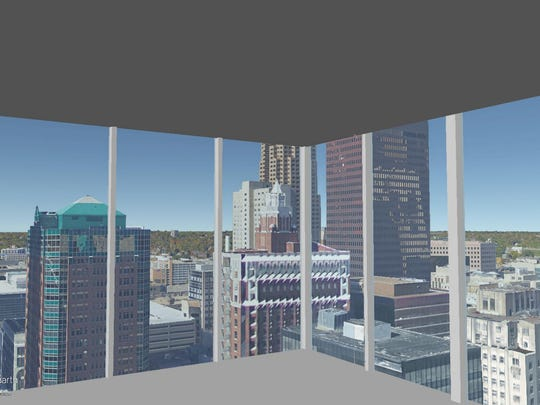 This is a rendering of the view on the 24th floor of The Fifth looking out the northwest corner.