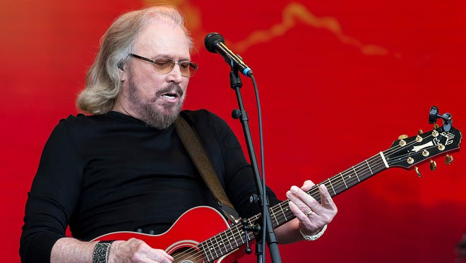 Barry Gibb at the Glastonbury Festival in Somerset, England, in June 2017.
