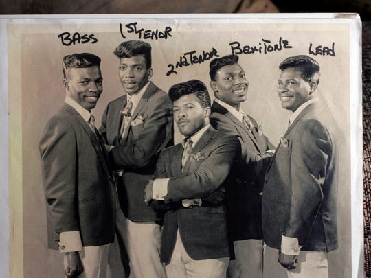 "This photo of The Parliaments taken about 1966 is in the colletion of Sammy Campbell of Plainfield, who was part of the '60s group the Del-Larks. Pictured from left to right are Ray Davis, Calvin Simon, Clarence ""Fuzzy"" Haskins, Grady Thomas and George Clinton."