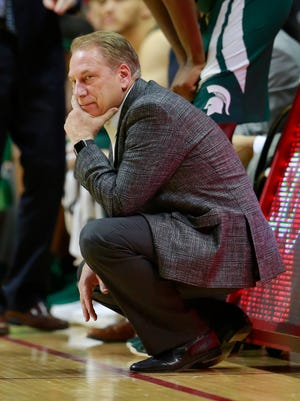 Michigan State head coach Tom Izzo watches his team play in the first half of an NCAA college basketball game against Indiana, Saturday, Feb. 3, 2018, in Bloomington, Ind. Michigan State won 63-60. (AP Photo/R Brent Smith)