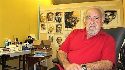 Marty Riskin in his forrmer studio in the gallery he helped found, Brush Strokes Open Studios Gallery, located on Prospect Street in Marblehead.