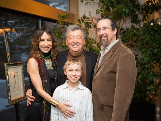 Susan Tobocman with her son, Caleb, her late father,