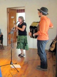 Nationally-recognized clarinetist and klezmer player, Margot Leverett performs with accordionist Jordan Wax before a standing-room-only audience at  Carrizozo Music Inc.'s annual fundraising event Sunday, April 8th.