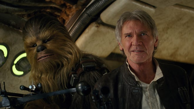 """Peter Mayhew, who plays Chewbacca (left) in """"Star Wars"""" — seen here with Harrison Ford — will visit Ozarks fans at Visioncon, held February in Branson."""