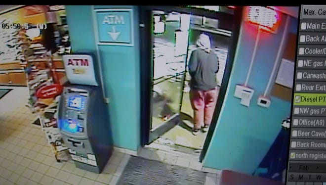 The suspect in an armed robbery Sunday at R-Store, 5485 U.S. 10, in Stevens Point is described as a male, about 5-foot and 8-inches tall and wearing red pants and a grey hooded sweatshirt under a black jacket.