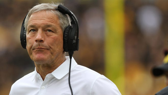 Iowa head coach Kirk Ferentz reacts as a Northwestern touchdown is confirmed by replay during the Hawkeyes' game against Northwestern at Kinnick Stadium on Saturday, Oct. 1, 2016.