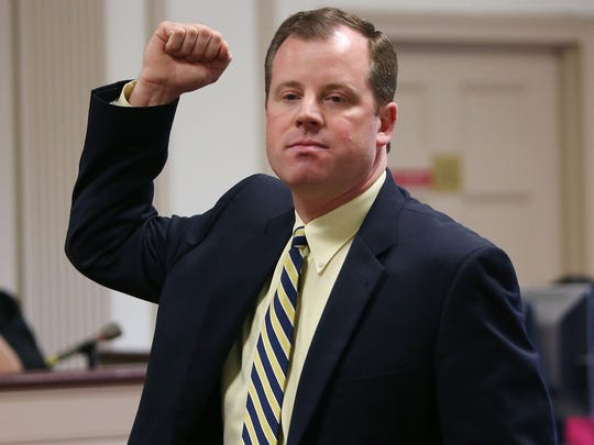 Defense lawyer Joseph Corazza gestures as if he were stabbing with a knife describing a struggle during his closing arguments in the trial of former Kinnelon resident Francis Thomas, charged with attempting to murder his mother's ex-boyfriend at the home they shared in Smoke Rise development in Kinnelon in 2014. April 26, 2017, Morristown, NJ