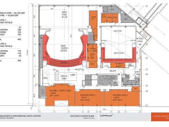 Three large rehearsal spaces in the forthcoming New Brunswick arts center will allow for more than 100 additional performances or productions that will bring another 39,000 visitors to the city.