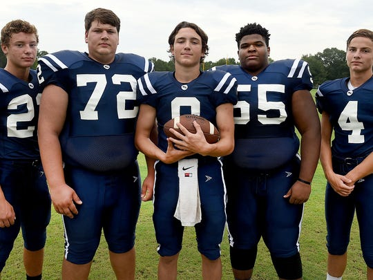 Westminster Christian offensive standouts running back Landon Trosclair (22), right tackle Lewis Champagne (72), quarterback Kaleb Prudhomme, left tackle Antoine White (55) and wide receiver Cole Fournet (4) are ready to make some noise in District 5-1A this season.