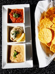 The Live and Give consists of three dips: smoked Gouda-chipotle