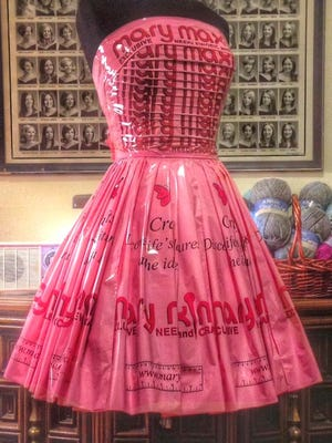 Avant garde dress designer Matthew F. Richmond, a Port Huron native, creates high-fashion dresses out of recycled materials such as paper and plastic. Mary Maxim commissioned a dress made from the craft and needlework store's pink plastic shopping bags.