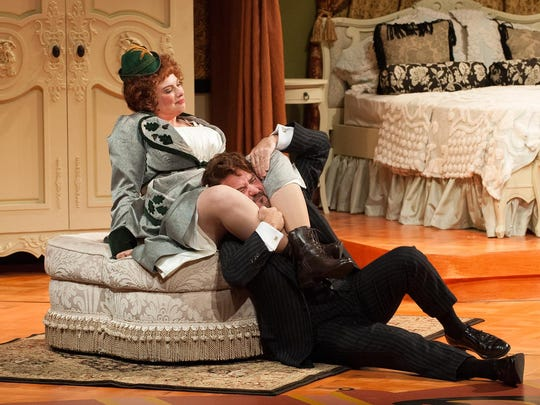 """Jenny Bennett and Lee Ernst in """"The Patsy"""" by the Resident Ensemble Players at the University of Delaware."""