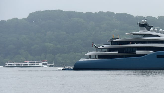 Aviva, the 332-foot mega-yacht that the British billionaire Joe Lewis built as a floating office, has been anchored in the Hudson River near Fort Lee for at least 10 days.