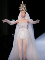 A model wears a creation as part of French designer