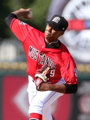 The Billings Mustangs' Hunter Greene (49) pitches against