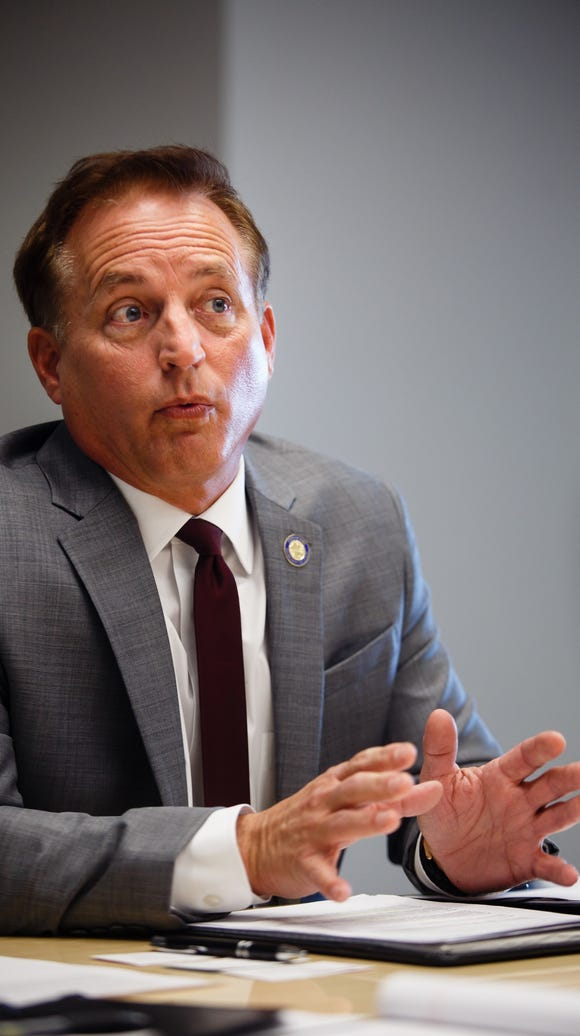 Iowa Secretary of State Paul Pate meets with the Register