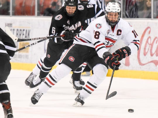 St. Cloud State's Judd Peterson heads toward the Nebraska-Omaha goal during the first period Saturday, Feb. 3, at the Herb Brooks National Hockey Center.