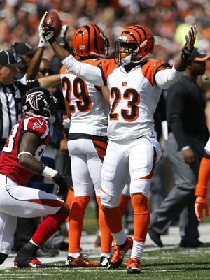 Cincinnati Bengals cornerback Terence Newman (23) reacts Sept. 14 after breaking up a pass against the Atlanta Falcons at Paul Brown Stadium.