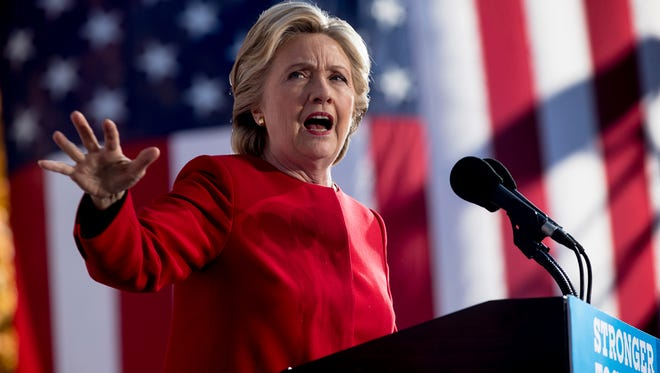 Democratic presidential candidate Hillary Clinton speaks at a rally at the Cathedral of Learning at the University of Pittsburgh in Pittsburgh, Pa., on Monday