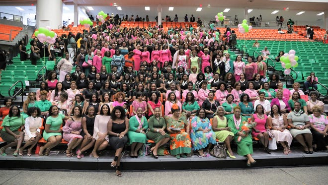 About 250 graduate members of the Beta Alpha Chapter of Alpha Kappa Alpha Sorority, adorned in their customized 85th anniversary shirts, gathered for FAMU's Homecoming Weekend.