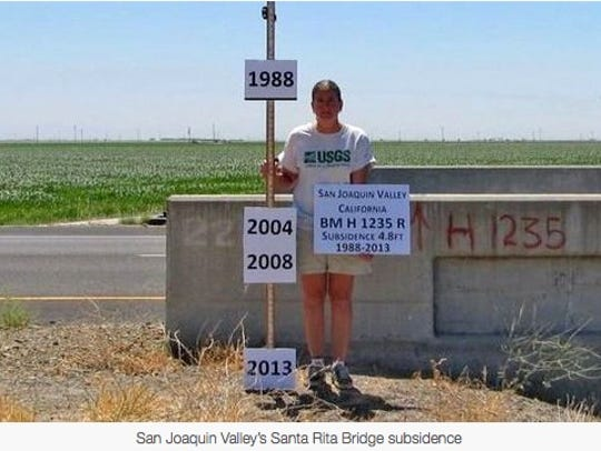 A woman shows the levels of the Friant-Kern Canal over