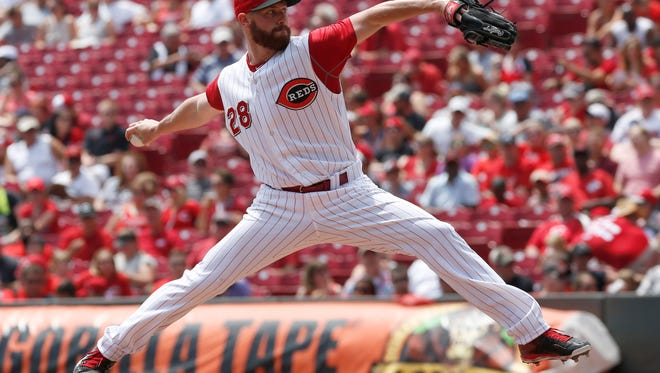 Cincinnati Reds starting pitcher Anthony DeSclafani throws against the Atlanta Braves during the second inning at Great American Ball Park.