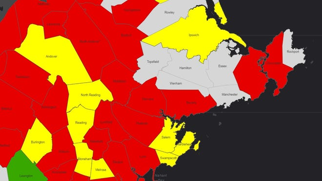 Danvers and Beverly were classified as higher risk (red), according to enhanced community-level COVID-19 data released by the state on Thursday, Oct. 29.