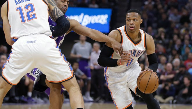 Russell Westbrook drives to the basket during a game last week.