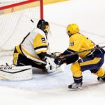 Injury filled Predators top Penguins 5-1 with goals from Fiala, Arvidsson