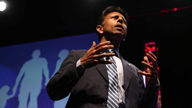 Louisiana Gov. Bobby Jindal speaks during the Family Leader Summit in Ames on Saturday, Aug. 9, 2014.