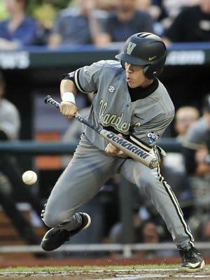 Vanderbilt's Jeren Kendall bunts in the fifth inning Tuesday.